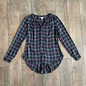 Lucky Brand Plaid Flannel High-Low Blouse